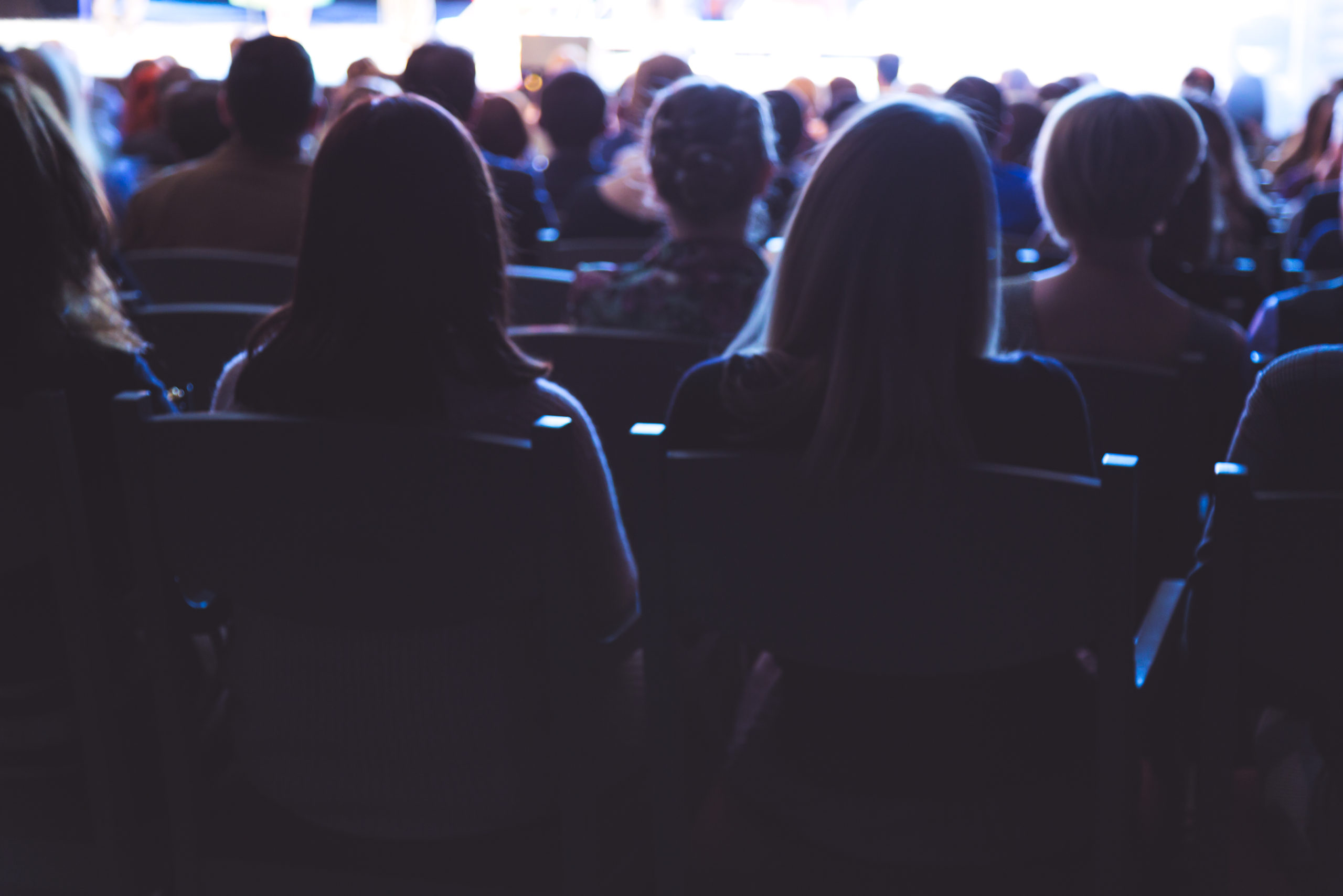 People in the theater auditorium during the performance. Soft focus.